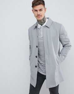 Shop ASOS DESIGN shower resistant single breasted trench in grey. With a variety of delivery, payment and return options available, shopping with ASOS is easy and secure. Shop with ASOS today. Mens Spring Jackets, Herringbone Coat, Hooded Trench Coat, Wool Overcoat, Burton Menswear, Harrington Jacket, Oversized Denim Jacket, Herren Outfit, Shearling Jacket