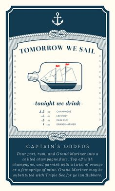 Lovely simple cards.  Nautical Cocktail Recipe Cards by Karen Wittekind, via Behance