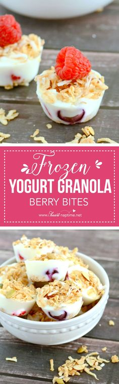 It only takes three ingredients to make these yummy and healthy frozen yogurt granola berry bites. Mini Desserts, Frozen Desserts, Delicious Desserts, Yummy Food, Frozen Treats, Yummy Drinks, Healthy Breakfast Recipes, Healthy Snacks, Snack Recipes