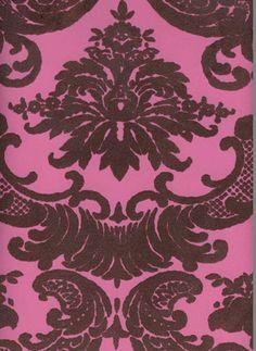 Sample of Brown & Pink Madison Damask Velvet Flocked Wallcovering by Burke Decor Flock Wallpaper, Damask Wallpaper, Designer Wallpaper, Queen Drawing, Black Floor, Burke Decor, Purple Velvet, Pink Brown, Flocking