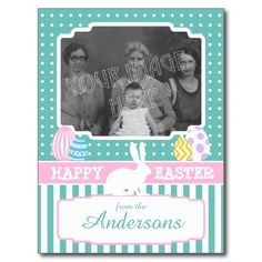 Easter Bunny Eggs Your Photo teal pink white Postcard. Sweet whimsical Easter postcards with art deco feel in bright pastel colors. Back of postcard has design too. (price showing is for 8 postcards, but you can buy just one at a time too for $1.95 each)