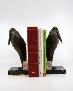 Pair of french art deco Patinated metal marabou stork form bookends after the model by Louis Albert Carvin babbitt metal bookends with bronze patina.Creator:Louis Albert cm x L. cm kg each Materials:Spelter an Bronze Patina, French Art, Bookends, Art Deco, Decoration, Model, French Artwork, Decor, Dekoration