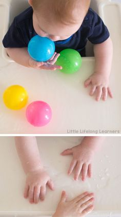 Read this post for simple sensory play ideas for babies. Water play, sensory bottles and many more easy ideas for encouraging play with your baby. 5 Month Old Baby Activities, Early Learning Activities, Sensory Activities Toddlers, Motor Skills Activities, Baby Learning, Fun Activities For Kids, Infant Activities, Preschool Projects, Baby Sensory Play
