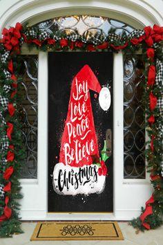 Joy, Love, Peace, Believe - Christmas, DoorWrap - Door Decoration Christmas Door Decorating Contest, Office Christmas Decorations, Merry Christmas Banner, Christmas Wood, Christmas Crafts, Christmas Music, Christmas Movies, Christmas Ideas, Christmas Classroom Door
