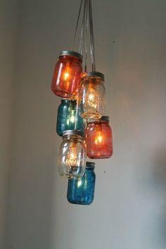 mason jar lighting | Mason jar pendant light Forth of July lighting for the addition/barn.