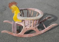 Antique child's rocker ... a Rooster rocker made from wood. Precious!!