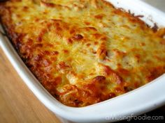 Simple baked ziti, enough to feed a crowd or to portion out for leftovers.