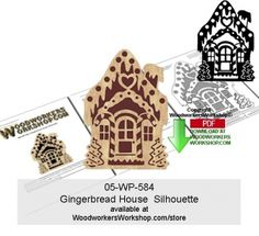 05-wp-584 - Gingerbread House Silhouette Downloadable Scrollsawing Pattern PDF…