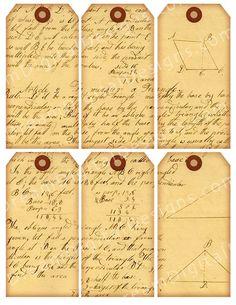 Vintage Script Text Tags Digital Collage Sheet