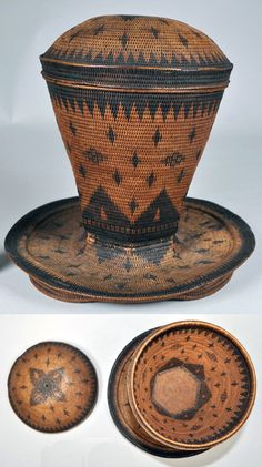 Africa | Lidded basket from the Kimbundu people of Angola | Fiber