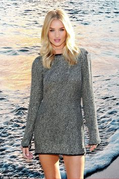 Making waves! Rosie Huntington-Whiteley showed just why the boots company chose her, as sh...