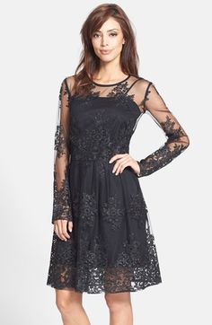 Taylor Dresses Embroidered Mesh Fit & Flare Dress available at #Nordstrom