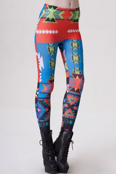 Contrast Colored Geometric Seamless Leggings