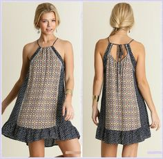Sleeveless Print Dress with Back Tie Detail