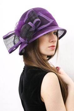 Astonishing and Glamorous Summer Cloche Hat with big sinamay bow. This hat is inspired by 20s Great Gatsby style. The hat is hand blocked on a