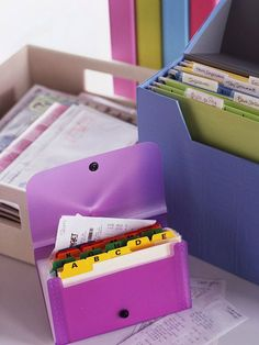Create a portable coupon and receipt organizer from an index card case and stash it where you'll remember to take it on errands. Alphabetized divider tabs are the perfect solution for filing lists accordingly. The holder's small size makes it easy to stow in a purse.