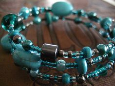 Wrapped Memory Wire Bracelet in Turquoise and Hematite
