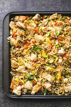 Easy, better than takeout! one sheet pan chicken fried rice has the best flavor and is prepped and baked on one pan for easy cleanup! | lecremedelacrumb.com