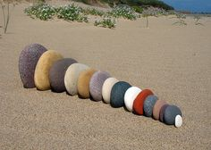 petitpoulailler: raspberrytart: Spurn Head Pebble Queue 1 by Pebble Stone, Pebble Art, Stone Art, Land Art, Stone Balancing, Rock And Pebbles, Mandala, Beach Stones, Beach Rocks