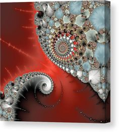 Fractal Spirals Canvas Print for sale. Spiral contact: Modern digital art based on a mandelbrot fractal, beautiful red, grey, light blue and brown colors, square format. The image gets printed on one of our premium canvases and then stretched on a wooden frame, click through and check out your options. 30 days money back guarantee. Matthias Hauser - Art for your Home Decor and Interior Design.