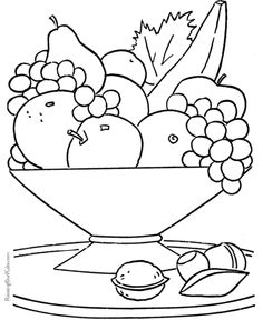 printable fruit basket on the table coloring pages kids - Coloring Pages Kids Vegetables
