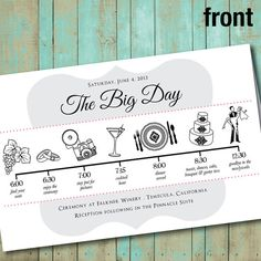 wedding program with wedding party silhouettes and big day timeline, digital, printable file