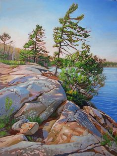 Acrylic on Gallery Canvas Killbear Provincial Park Available at Koyman Gallery Watercolor Landscape Paintings, Watercolor Artists, Nature Paintings, Beautiful Paintings, Landscape Art, Watercolour, Indian Paintings, Winter Landscape, Abstract Paintings