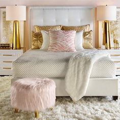 Feminine bedroom design in white, pink and gold