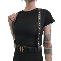 0e00bdbad10 Faux Leather Studded Suspender Harness