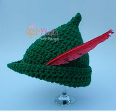 CROCHET PATTERN Peter Pan / Robin Hood Hat - Pdf File - 6 Sizes included: from Newborn to Adult - Permission to sell finished item by SugarMamaShop (Sugar Mama's Sweet Bowtique)