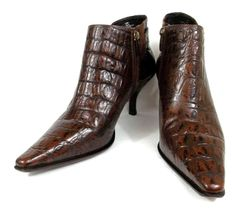 "Donald J Pliner ""Loni"" Brown Leather Croc Embossed  Ankle Boots Womens 9.5 M #DonaldJPliner #Boots"