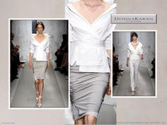 Donna Karen white wrap shirt and double layer skirt
