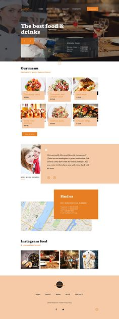 Cafe and Restaurant website inspirations at your coffee break? Browse for more Bootstrap #templates! // Regular price: $75 // Sources available: .HTML,  .PSD #Cafe and Restaurant #Bootstrap