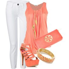 White pants and coral by missyalexandra on Polyvore