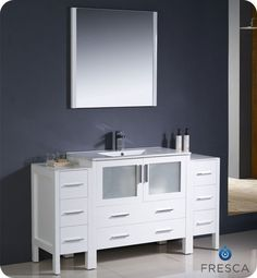 Torino 60 Inch White Modern Bathroom Vanity With 2 Side Cabinets And Undermount Sink