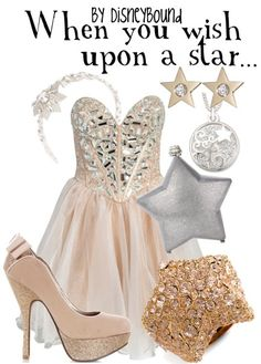 Adsjkhglksahgas!! This Disneybound outfit is perfect for wishing on a star, and I ♥ how perfectly the gold / nude pairs with the silver!! ♥