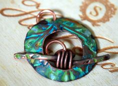 Blue Rust Venus Round Toggle Clasp in Copper  Handmade by ORRTEC, $13.00