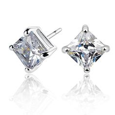 Sq Halo and Domed Sq Stud Set Sterling Silver Rhodium 5mm AAA Sq Solitaire