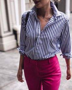 """2,759 Likes, 49 Comments - Mary Orton (@maryorton) on Instagram: """"• classic stripes and fuchsia pants for a beautiful spring day today in #nyc  link in my profile…"""""""