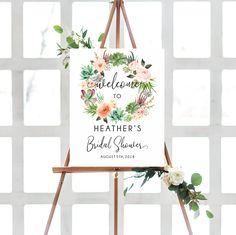 Bridal Shower Wreaths, Bridal Shower Decorations, Bridal Shower Welcome Sign, Bridal Shower Signs, Baby Shower Themes, Shower Ideas, Wreath Watercolor, Wedding Signs, Wedding Ideas