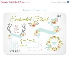 15 Pastel Design Elements - Antlers, Flowers and Ribbon Graphics perfect for Scrapbooking or Embellishing your Blog or Website, or creating stationery https://www.etsy.com/listing/150658053