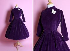 STUNNING Designer 1950's New Look Royal Purple Velvet Party Dress w/ Matching Tie Belt by Jonathan Logan - Velveteen by Crompton - Size M