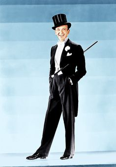 Fred Astaire wearing his iconic tux in TOP HAT (1935)