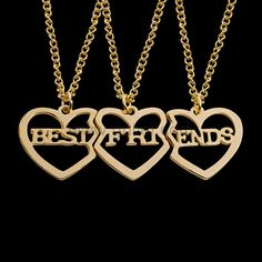 This Bff Best Friends 3 Piece Necklaces set is made of an anti-allergic Alloy. It is a perfect gift for Birthday, Valentines and Christmas. Mentioned price is for a set of 3 jewelry items i. 3 pendants and chains. Bff Necklaces, Best Friend Necklaces, Best Friend Jewelry, Matching Necklaces, Bff Gifts, Gifts For Friends, Gifts For Mom, Best Friend Rings, Best Friend Outfits
