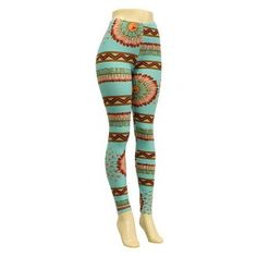 """Mint """"Get Fired Up"""" Feather and Chevron Pattern Stretch Leggings"""