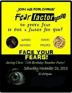 Fear factor party invitation