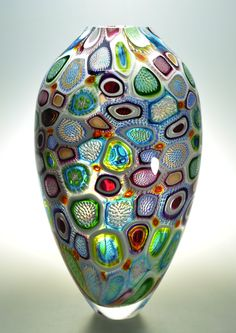 "Murrine Glass Art by Michael Waysmith - ""Arcobaleni Diatom"" featuring dozens of different murrine."