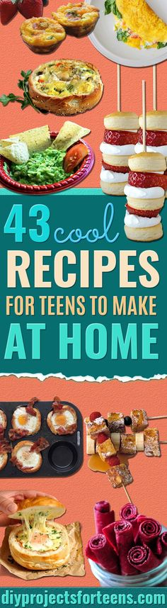 Cool and Easy Recipes For Teens to Make at Home - Fun Snacks, Simple Breakfasts, Lunch Ideas, Dinner and Dessert Recipe Tutorials - Teenagers Love These Fun Foods that Are Quick, Healthy and Delicious Ideas for Meals  via @diyprojectteens Healthy Diet Recipes, Healthy Snacks, Snack Recipes, Healthy Breakfasts, Eating Healthy, Clean Eating, Dessert Recipes, Easy Snacks, Easy Meals
