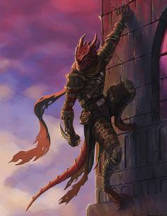 m Half Dragon Rogue Thief Leather Armor Castle Wall climbing roof top d&d morning DnD d&d twin lg Fantasy Races, Fantasy Rpg, Fantasy Artwork, Dark Fantasy, Dungeons And Dragons Characters, Dnd Characters, Fantasy Characters, Fantasy Character Design, Character Art