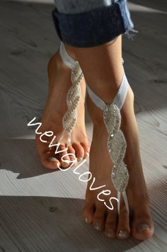 rhinestone Beach wedding barefoot sandals by newgloves on Etsy Nude Sandals, Bare Foot Sandals, Anklet, Barefoot, Bridal, Trending Outfits, Unique Jewelry, My Style, Lace